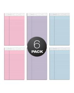 "TOPS™ Prism™ Writing Pads, 5"" x 8"", Jr. legal Rule, Assorted Colors: Pink, Orchid, Blue, Perforated, 50 Sheets, 6 Pack"