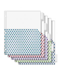 Oxford® Punch Pop 5-Tab Binder Dividers, Single Pocket, Plastic, Assorted Jewel Tone Colors (Teal, Berry, Purple, Green, Blue), 1 Set
