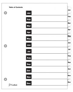 OneStep® Printable Table of Contents Dividers, Monthly, White
