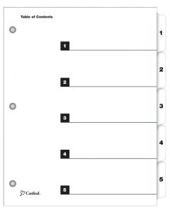 QuickStep® OneStep® Printable Table of Contents Dividers, 5 Tab, White, 24/PK