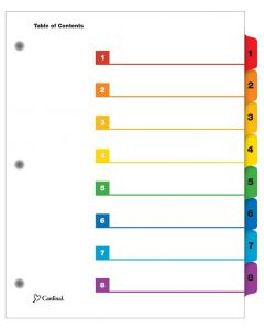 QuickStep® OneStep® Printable Table of Contents Dividers, 8 Tab, Multicolor, 24/PK