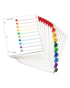OneStep® Printable Table of Contents Dividers, 10 Tab, Multicolor, 6/PK