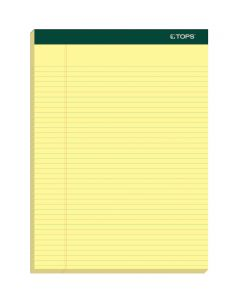 "TOPS™ Docket™ Writing Pads, 8-1/2"" x 11-3/4"", Narrow Rule, Canary Paper, 100 Sheets, 6 Pack"