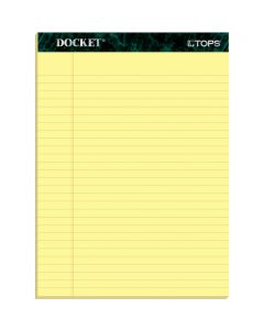 "TOPS™ Docket™ Writing Pads, 8-1/2"" x 11-3/4"", Legal Rule, Canary Paper, 50 Sheets, 12 Pack"