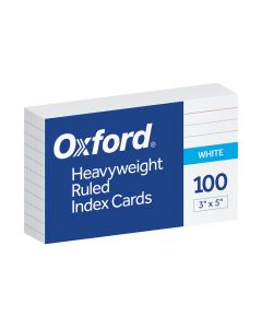 """Oxford® Heavyweight Ruled Index Cards, 3"""" x 5"""", White, 100 Per Pack"""