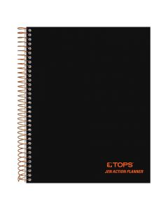 "TOPS™ JEN Action Planner, 6-3/4"" x 8-1/2"", Wire Bound, Project Rule, Black Cover, 100 Sheets"