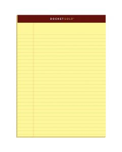 """TOPS™ Docket Gold™ Writing Pads, 8-1/2"""" x 11-3/4"""", Legal Rule, Canary Paper, 50 Sheets, 12 Pack"""