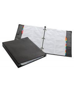 Sewn Business Card File Binder, Black