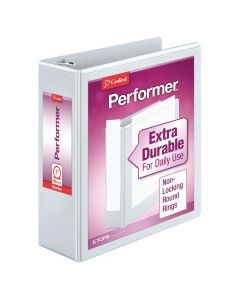 "Cardinal® Performer™ ClearVue™ Binders, Non-Locking Round Rings, ClearVue™ Covers, 3"", 625-Sheet Capacity, White"