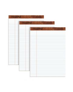"TOPS™ The Legal Pad Writing Pads, 8-1/2"" x 11-3/4"", Legal Rule, White Paper, 50 Sheets, 3 Pack"