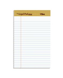 """TOPS™ The Legal Pad Plus Writing Pads, 5"""" x 8"""", Jr. Legal Rule, 50 Sheets, 12 Pack"""