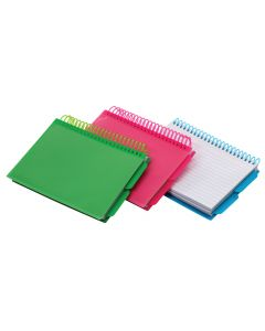 """Spiral Index Cards with Poly Covers, 4"""" x 6"""", Assorted"""