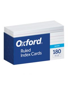 """Oxford® Ruled Index Cards, 3"""" x 5"""", White, 180 Cards, Tray Pack"""