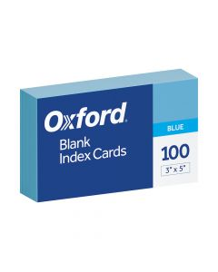 "Oxford® Blank Color Index Cards, 3"" x 5"", Blue, 100 Per Pack"