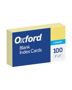 "Oxford® Blank Color Index Cards, 3"" x 5"", Canary, 100 Per Pack"