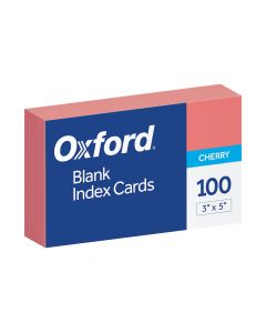 "Oxford® Blank Color Index Cards, 3"" x 5"", Cherry, 100 Per Pack"