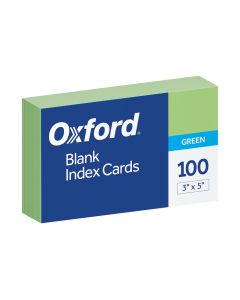 "Oxford® Blank Color Index Cards, 3"" x 5"", Green, 100 Per Pack"