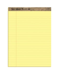 "TOPS™ Second Nature® Recycled Writing Pads, 8-1/2"" x 11-3/4"", Canary Paper, Legal Rule, 50 Sheets, 12 Pack"