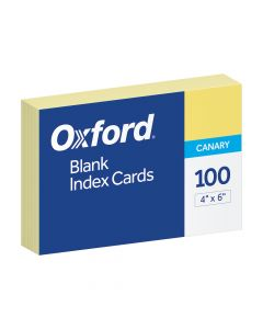 """Oxford® Blank Color Index Cards, 4"""" x 6"""", Canary, 100 Per Pack"""