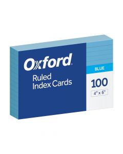 """Oxford® Ruled Color Index Cards, 4"""" x 6"""", Blue, 100 Per Pack"""