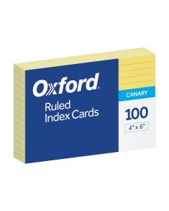 """Oxford® Ruled Color Index Cards, 4"""" x 6"""", Canary, 100 Per Pack"""