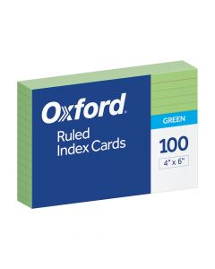 """Oxford® Ruled Color Index Cards, 4"""" x 6"""", Green, 100 Per Pack"""