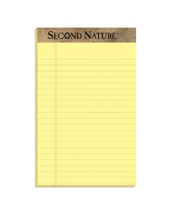 "TOPS™ Second Nature® Recycled Writing Pads, 5"" x 8"", Jr. Legal Rule, Canary Paper, 50 Sheets, 12 Pack"