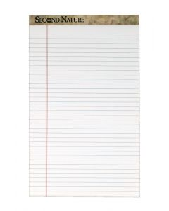 """Second Nature® 100% Recycled Legal Pad, 8-1/2"""" x 14"""", Perforated, White, Legal/Wide Rule, 50 Sheets per Pad, 12 Pads per Pack"""