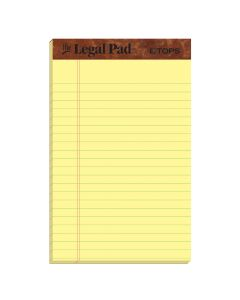 "TOPS™ The Legal Pad Writing Pads, 5"" x 8"", Jr. Legal Rule, Canary Paper, 50 Sheets, 5 Pack"