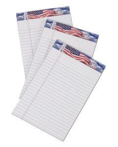 "American Pride™ Writing Tablet, 5"" x 8"", Perforated, White, Narrow Rule, 50 SH/PD, 3 PD/PK"