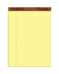 "TOPS™ The Legal Pad Writing Pads, 8-1/2"" x 11-3/4"", Canary Paper, Legal Rule, 50 Sheets, 3 Pack"