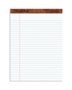"TOPS™ The Legal Pad Writing Pads, 8-1/2"" x 11-3/4"", Legal Rule, White Paper, 50 Sheets, 12 Pack"