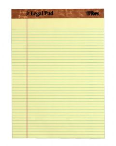 "The Legal Pad™ Legal Pad, 8-1/2"" x 11-3/4"", Perforated, Canary, Narrow Rule, 50 SH/PD,UPC on each Pad"