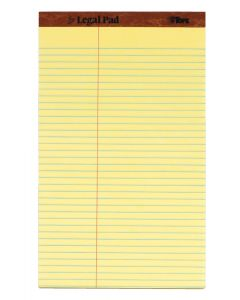 "The Legal Pad™ Legal Pad, 8-1/2"" x 14"", Perforated, Canary, Law Rule, 50 SH/PD, 12 PD/PK"