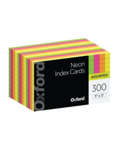 """Oxford® Neon Index Cards, 3"""" x 5"""", Ruled, Assorted Colors, 300 Per Pack"""