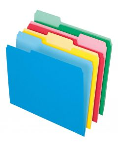File Folder - Basic, 1/3 Tab, Color, Assorted, Letter, 36PK (4 Colors: Red, Blue, Green, Yellow)