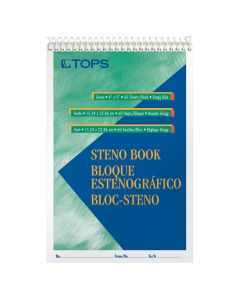 """TOPS™ Steno Books, 6"""" x 9"""", Pitman Rule, Green Tint Paper, 80 Sheets, 12 Pack"""