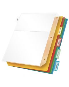Poly Ring Binder Pockets with 5 Insertable Tabs, Multicolor