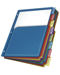 Expanding Poly Pocket Divider, 8 Tab, Multicolor