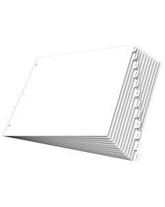 "11"" x 17"" Write 'n Erase® Dividers, 12 Tab, White"