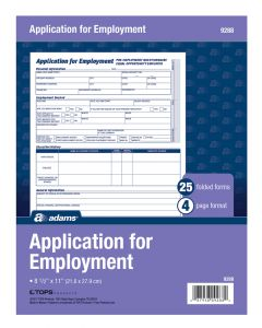 Application For Employment, 4 Page Form, 25/PK