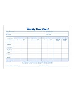 Weekly Time Sheet 2/PK, 1-Part, 100/PD