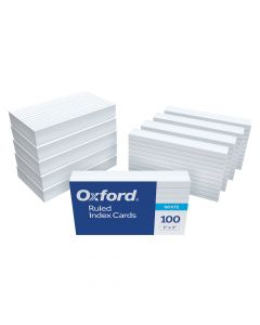 """Oxford® Ruled Index Cards, 3"""" x 5"""", White, 1,000 Cards, 10 Packs of 100"""