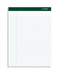 "TOPS™ Docket™ Writing Pads, 8-1/2"" x 11-3/4"", Narrow Rule, White Paper, 100 Sheets, 4 Pack"