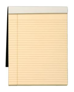 "Docket™ Gold Writing Tablet, 8-1/2"" x 11-3/4"", Perforated, Ivory Paper, Black Covers, Legal/Wide Rule, 70 SH/PD"