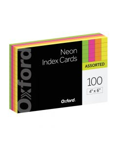 "Oxford® Neon Index Cards, 4"" x 6"", Ruled, Assorted Colors, 100 Per Pack"