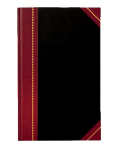 "Adams® Account Journal, Black Cover, Maroon Spine, 11-5/8"" x 7-1/4"", 300 Pages,"