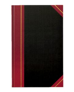 "Adams® Record Book, Black Cover, Maroon Spine, 11-5/8"" x 7-1/4"", 300 Pages,"