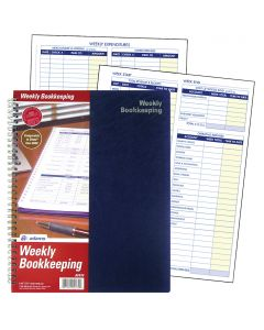 "Adams® Weekly Bookkeeping Record Book, Spiral Bound, 8-1/2"" x 11"""