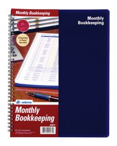"Adams® Monthly Bookkeeping Record Book, Spiral Bound, 8-1/2"" x 11"""